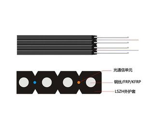 China FTTH Double-fly Indoor Drop Cable FRP/KFRP Strength Member Optical Fiber Cable supplier